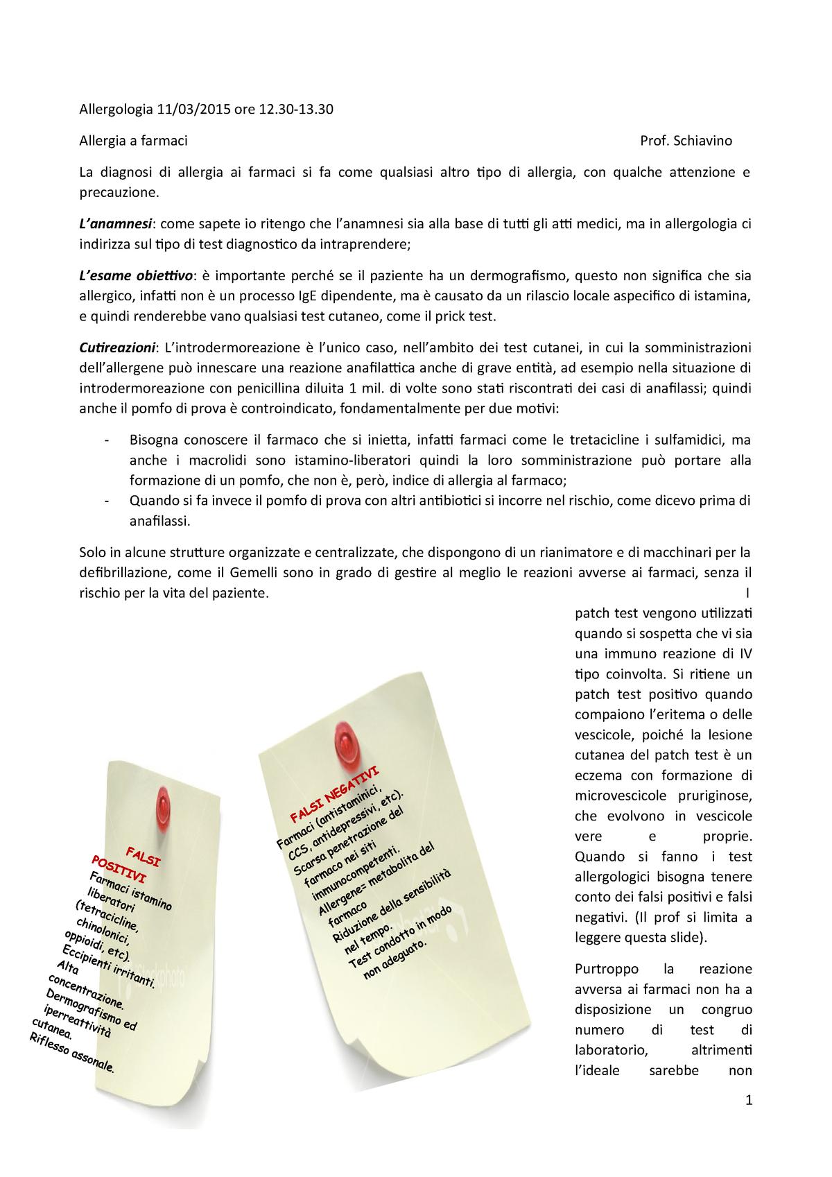 Rischio Clinico Somministrazione Farmaci.Appunti Allergia A Farmaci Medicina Interna A A 2014