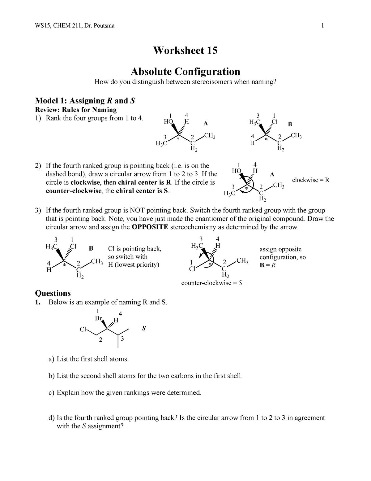 WS15 Stereoisomer Nomenclature - CHEM 211: Organic Chemistry