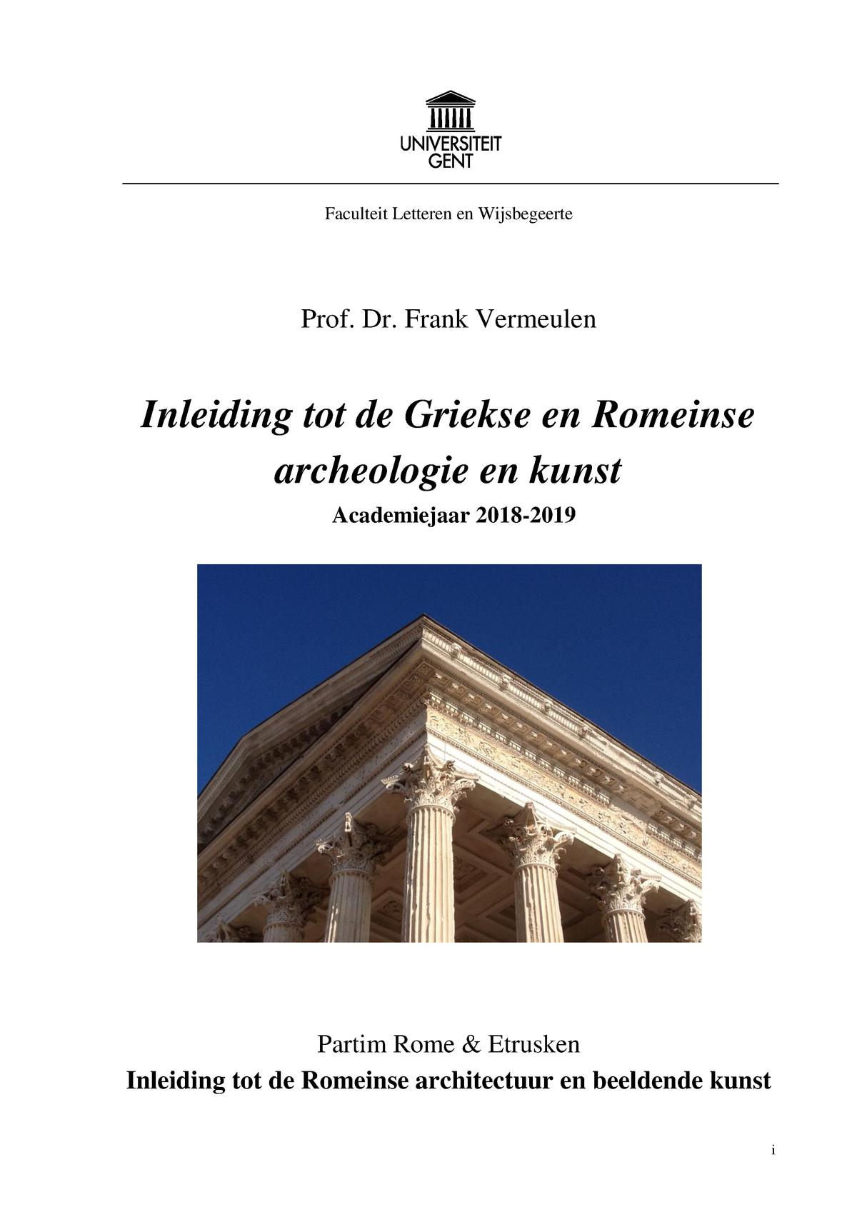 Zeer Syllabus Romeins en Etruskisch 2018 2019 - A003302: Inleiding tot #LT91