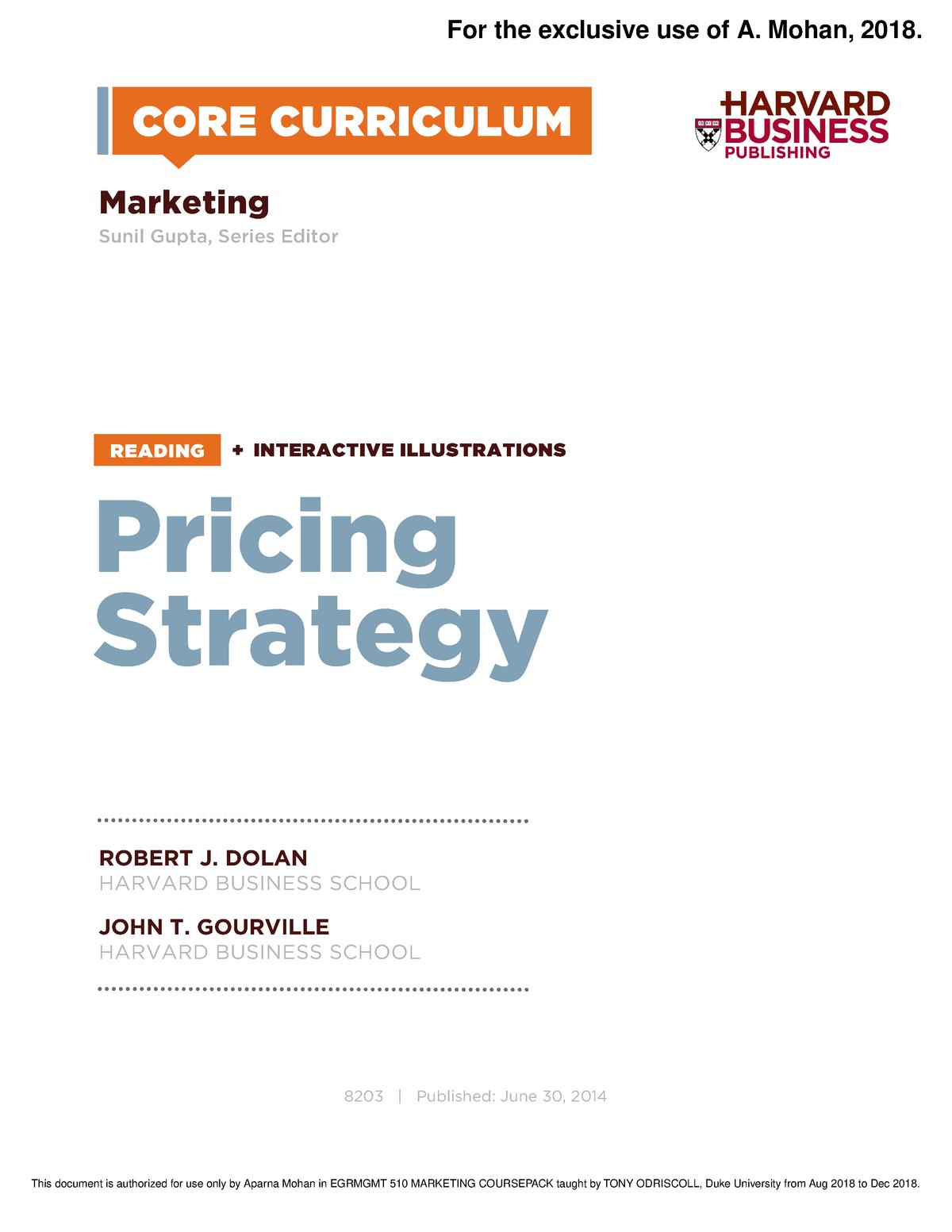 Reading 7 Pricing Strategy - MARKETNG 360 - Duke University