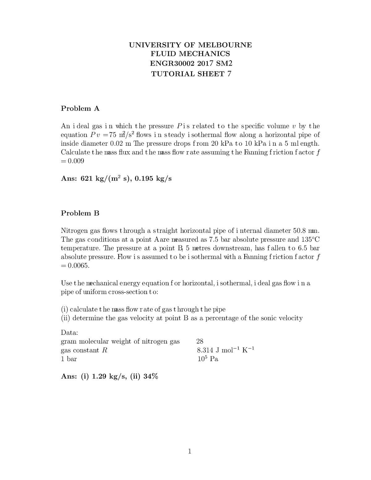 Tutorial sheet 7 - ENGR30002: Fluid Mechanics - StuDocu