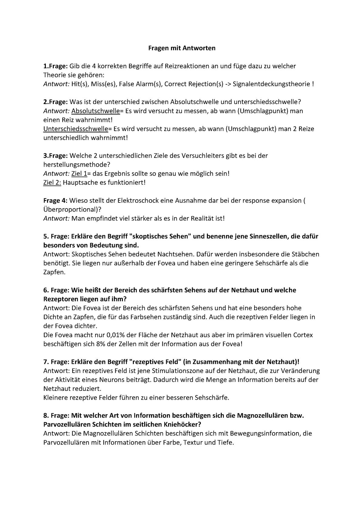 83897c541846a Übungen Fragenkatalog mit Lösungen - 602.016  Allgemeine Psychologie I -  StuDocu