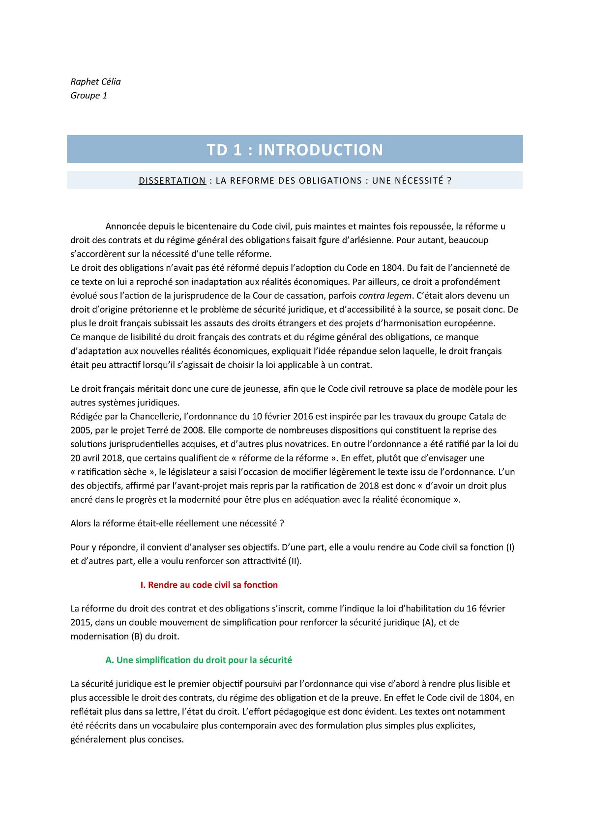 Td 1 Dissertation La Reforme Des Obligations Une Necessite Studocu