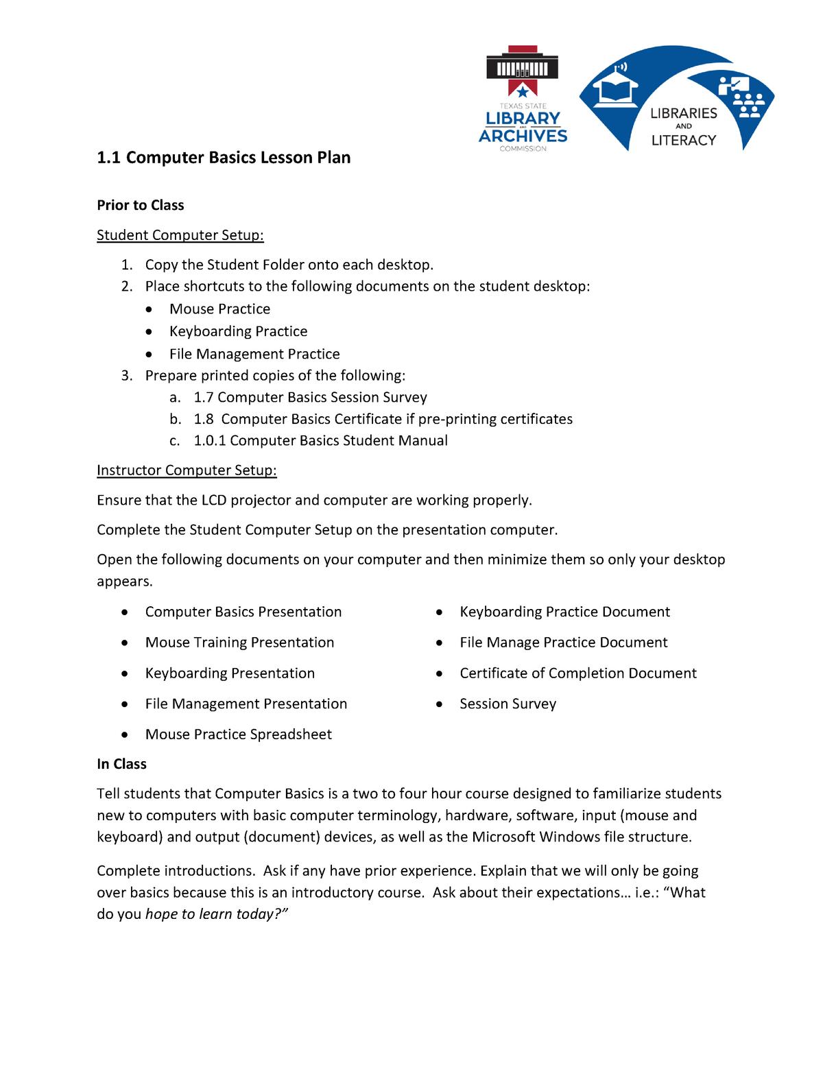 1-1 Computer Basics Lesson Plan - ISTSBCO: Basic Computing - StuDocu