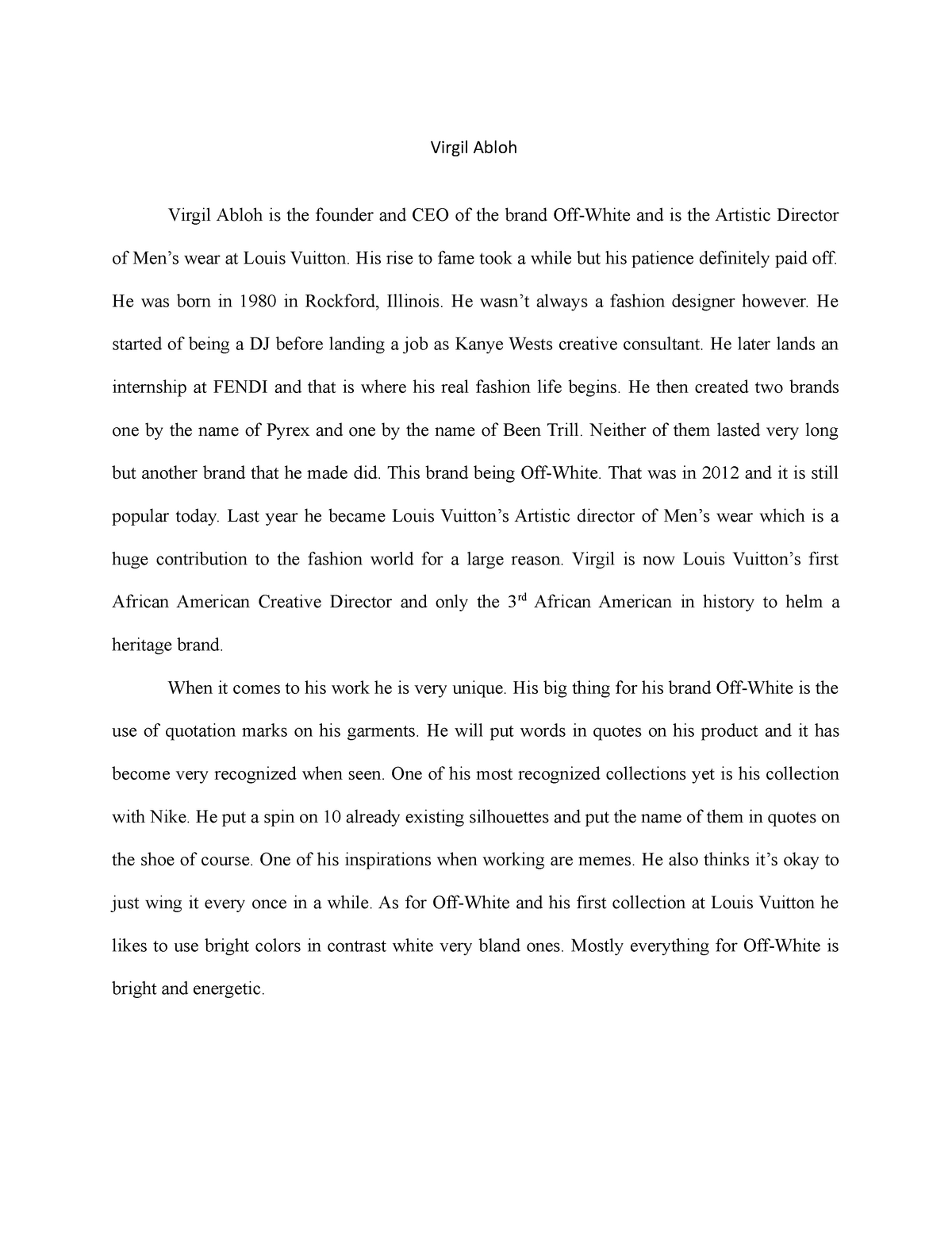 Virgil Abloh Tech Lecture Notes All Notes Fdm 20050 Studocu