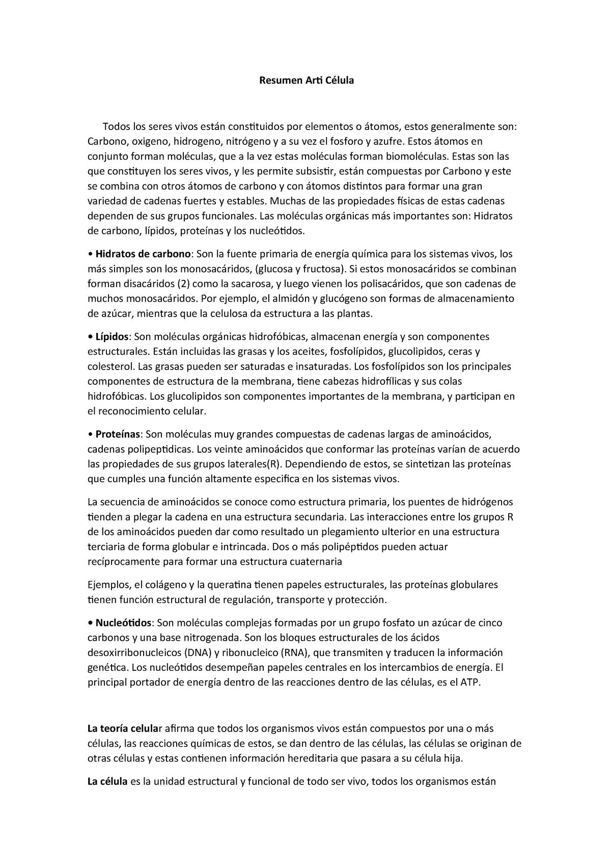 Resumen Arti Célula Biología Unmdp Studocu