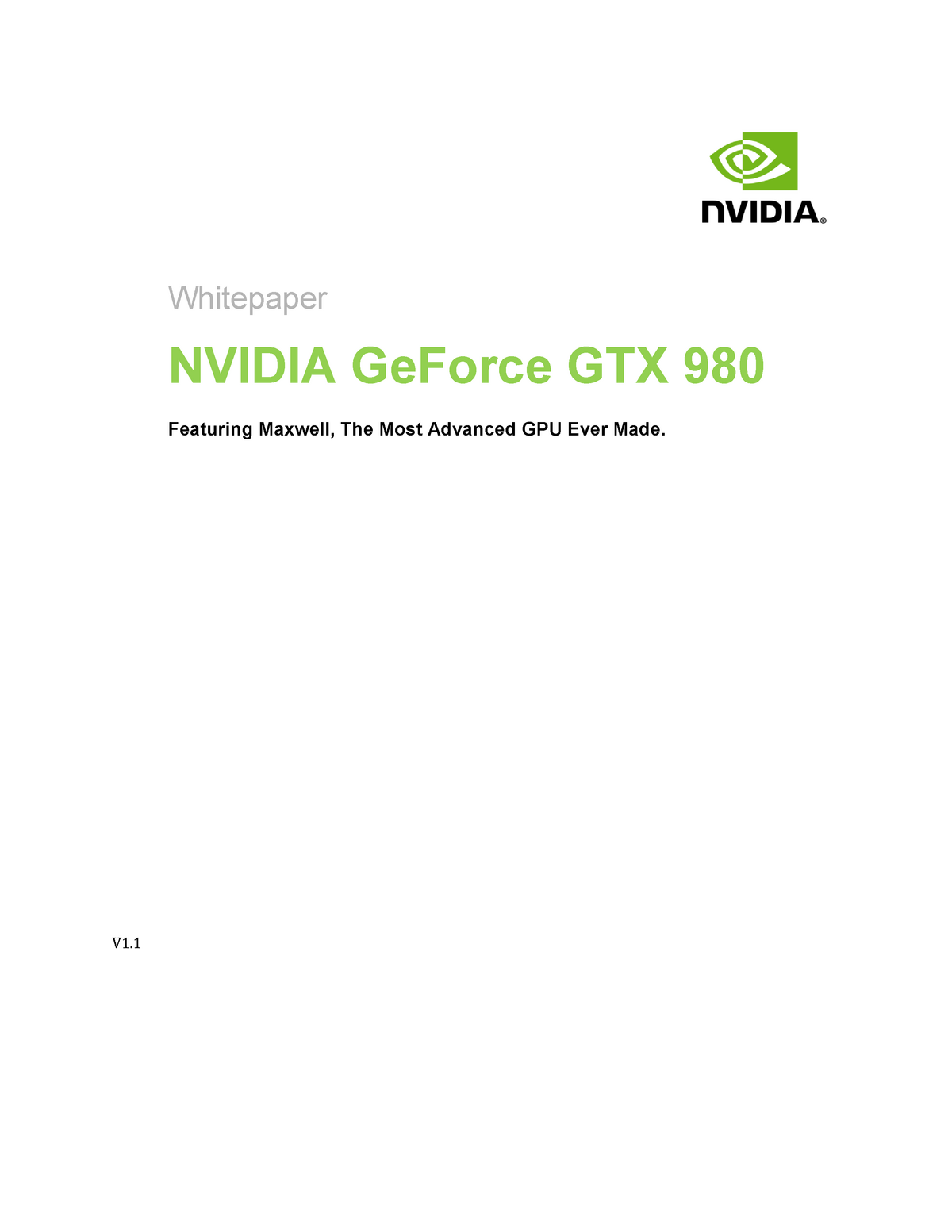 Ge Force GTX 980 Whitepaper Final - 88949: Advanced computer