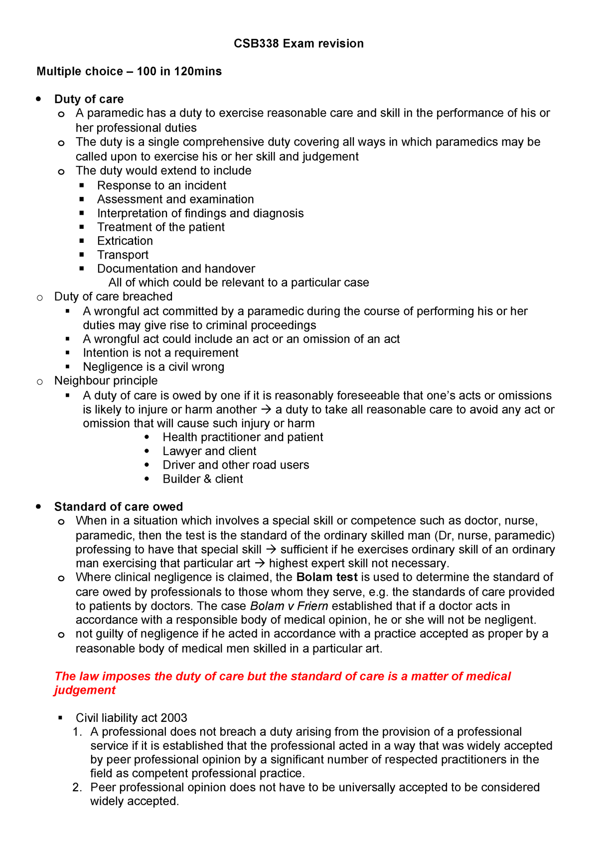 CSB338 Exam revision - Summary Ethics and the Law in Health