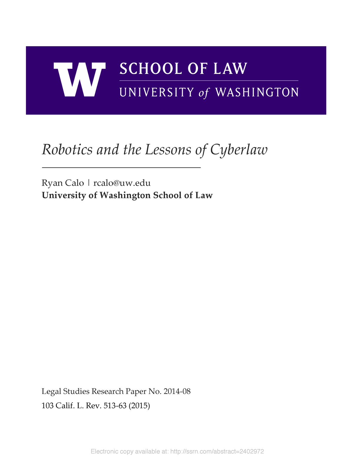 4  Calo robotics and the Lessons of Cyberlaw - WB3073: The