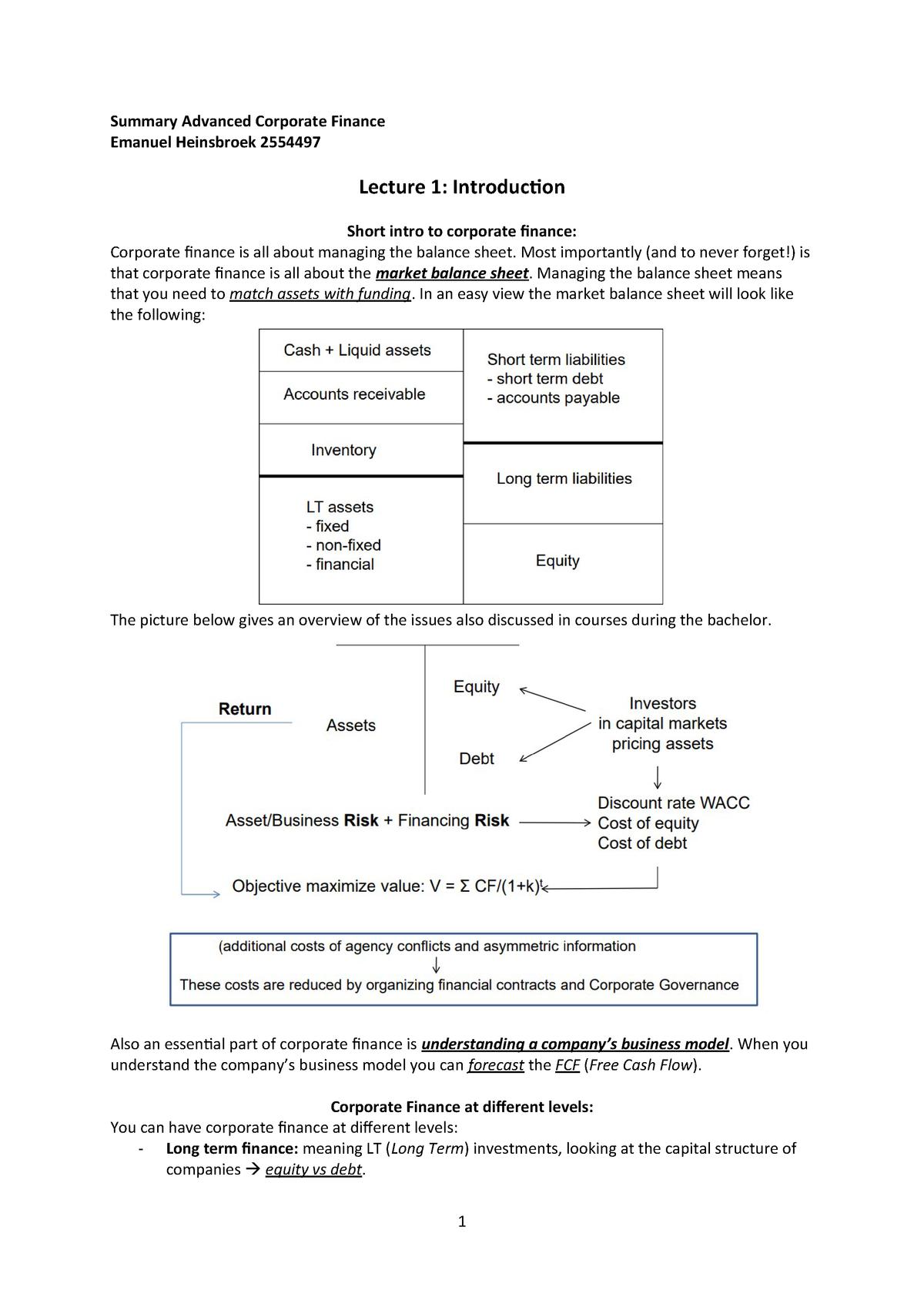 Summary Advanced Corporate Finance Bewerken 2 Studeersnel