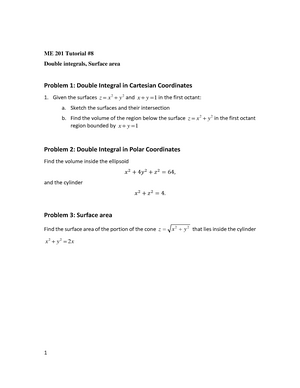 Tutorial 8 - Study reference - ME 201: Advanced Calculus