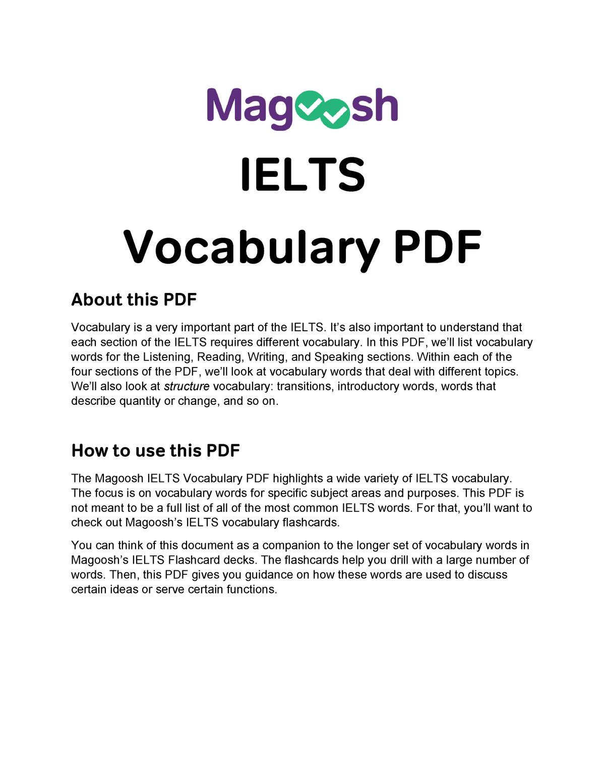 Magoosh+ Ielts+Vocabulary+PDF - 101825 - UWS - StuDocu