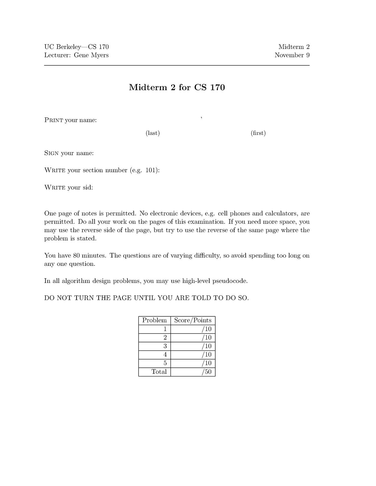 Exam 2004 - COMPSCI 170: Efficient Algorithms And