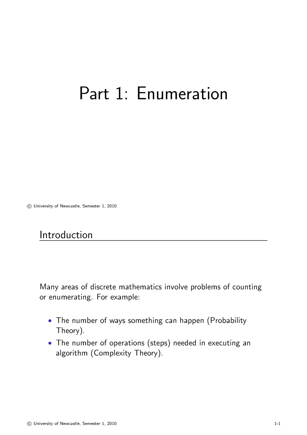 Lecture notes, lectures 5-8 - enumeration notes - MATH1510: Discrete