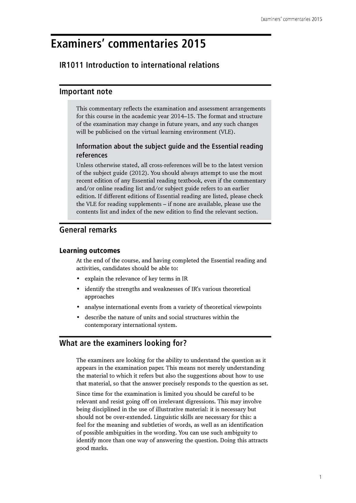 Exam 2015, questions and answers - IR1011 - London - StuDocu