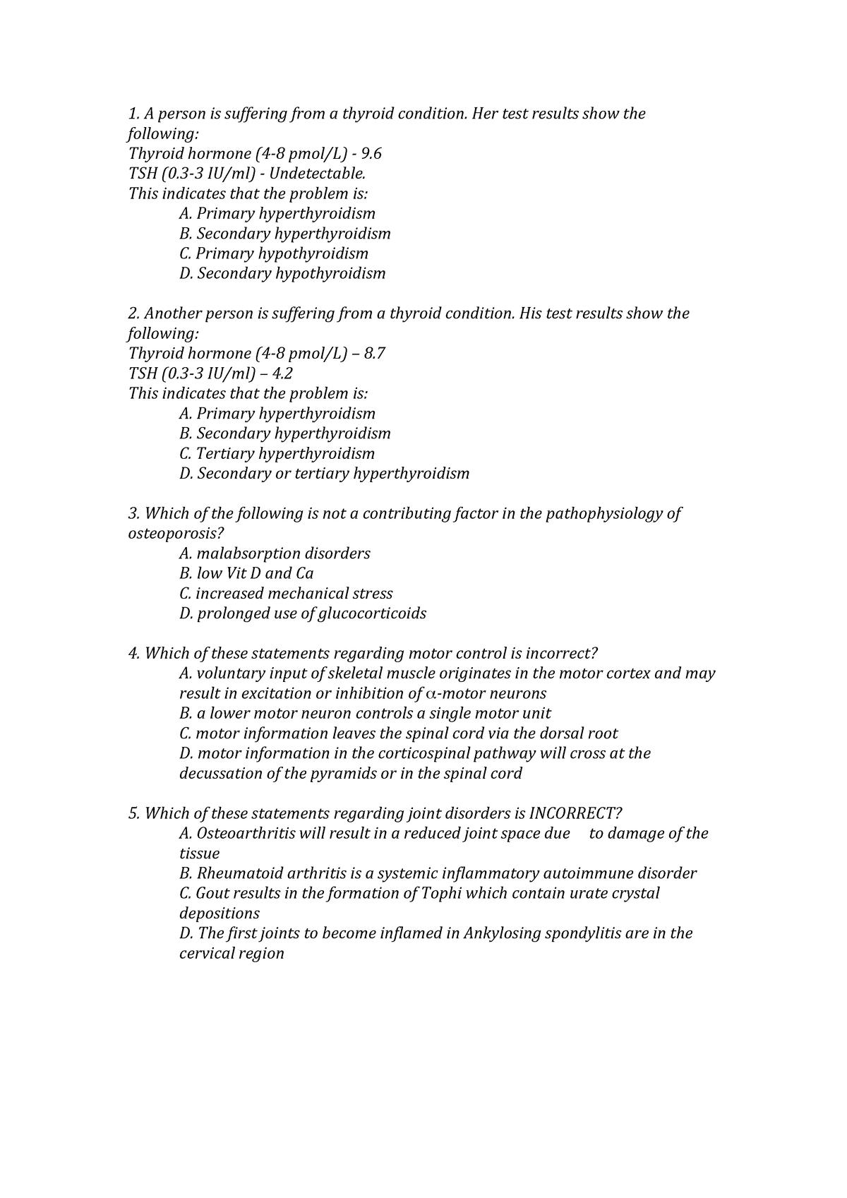 Practical - MCQs, week 10 - HUBS2505: Human Pathophysiology - StuDocu