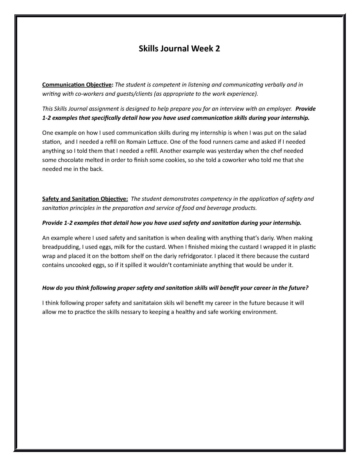 Skills Journal Week 2 - Homework - BPA 2276 - JWU - StuDocu