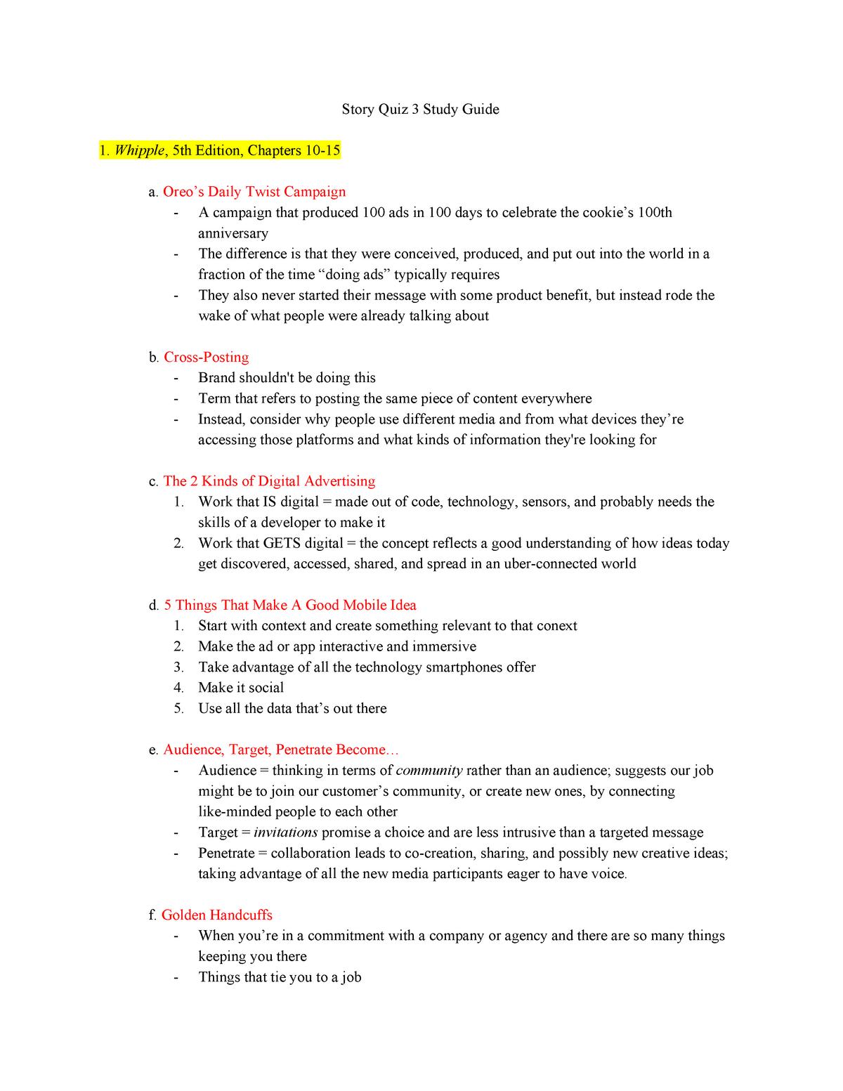 Quiz 3 Study Guide Professor Jennifer Sperberg Masc 204 Studocu