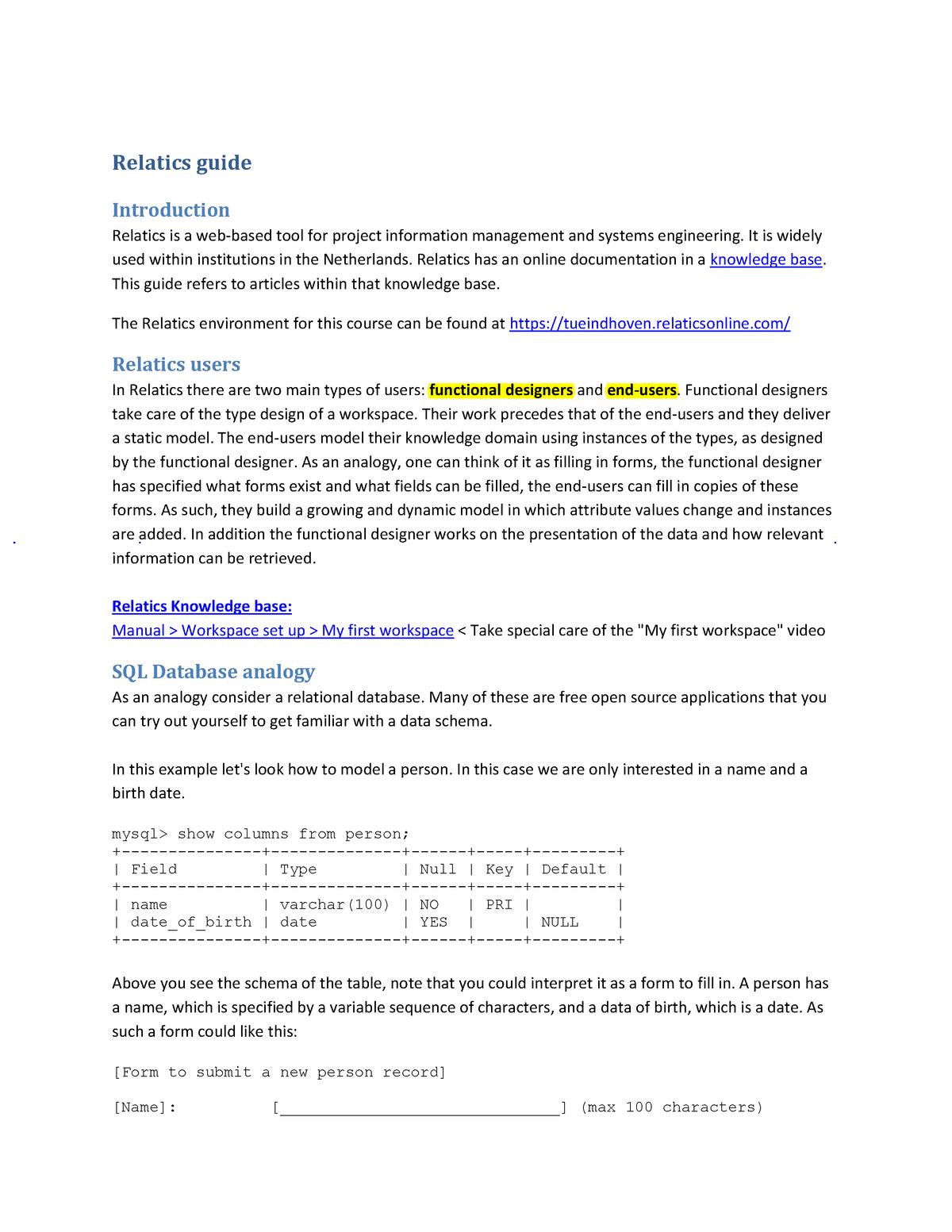 Relatics guide - 7ZM9M0: Systems engineering - StuDocu
