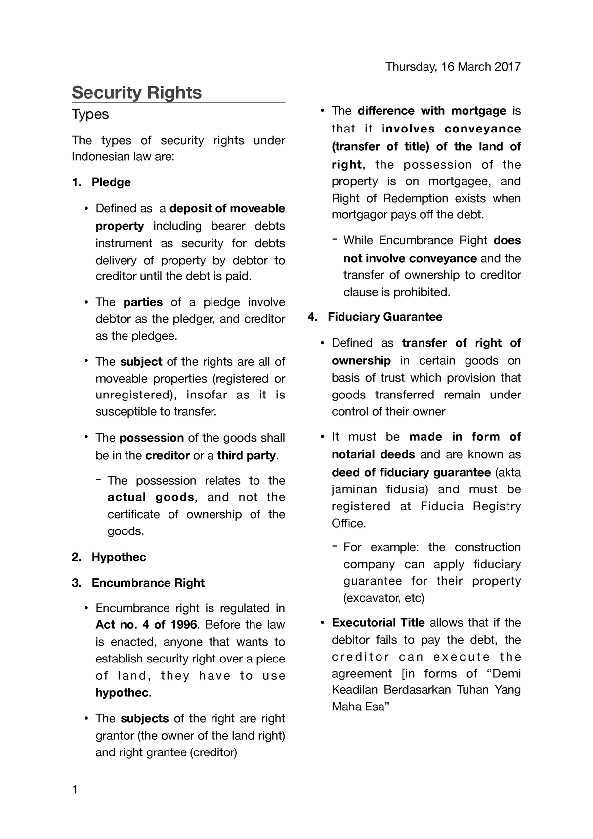 Security Rights - Lecture notes 12 - HKUI1124: Civil Law