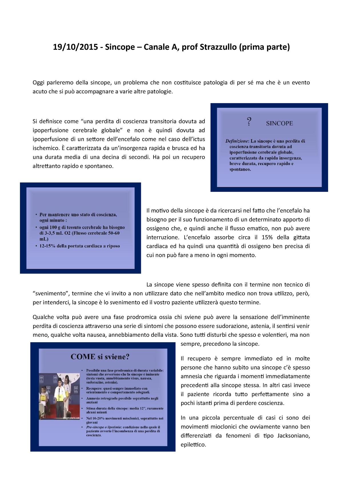 a34e2dedc2 Appunti - Corso integrato della medicina clinica 2 - Sincope: parte prima -  a.a. 2015/2016 - 13488: Corso integrato della medicina clinica 2 - StuDocu