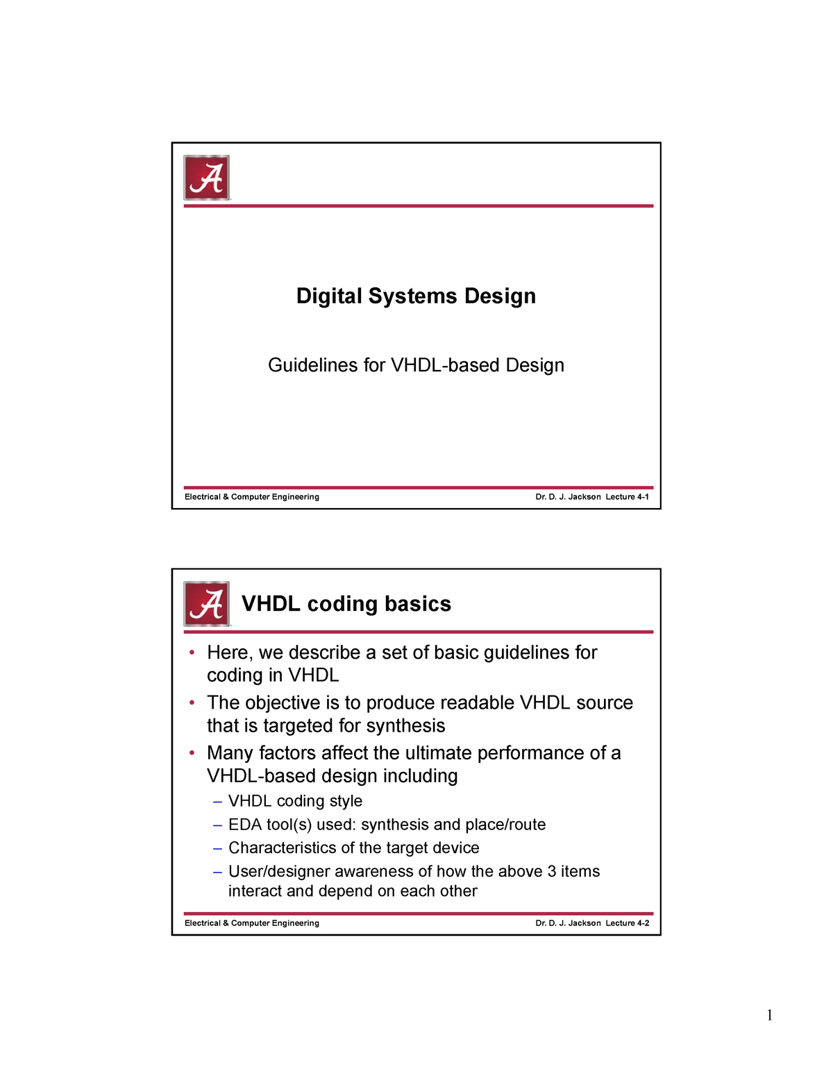Lec 4 - Guidelines for VHDL-based Design - ECE 480: Digital