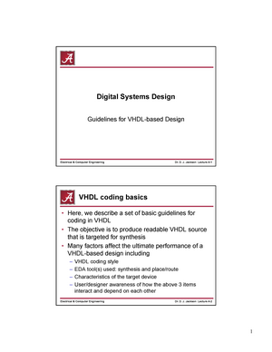 Lec 4 - Guidelines for VHDL-based Design - ECE 480: Digital Systems