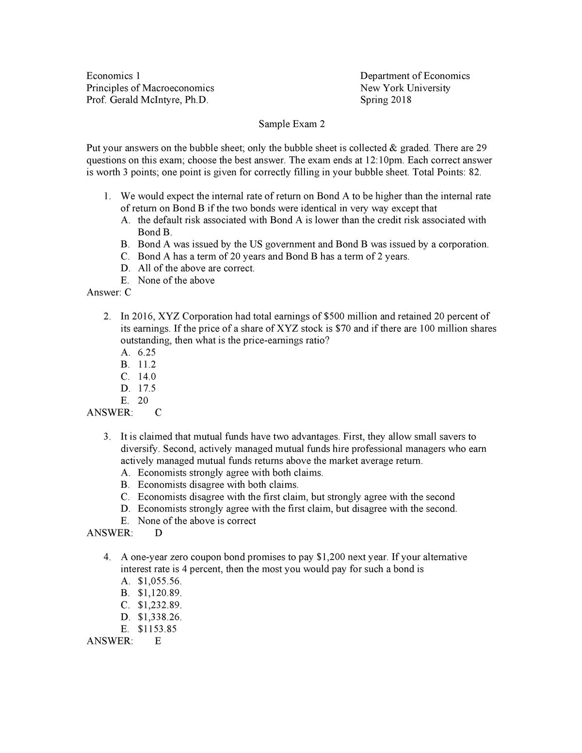 Exam 2018 - ECONUA1: Introduction to Macroeconomics (P, T