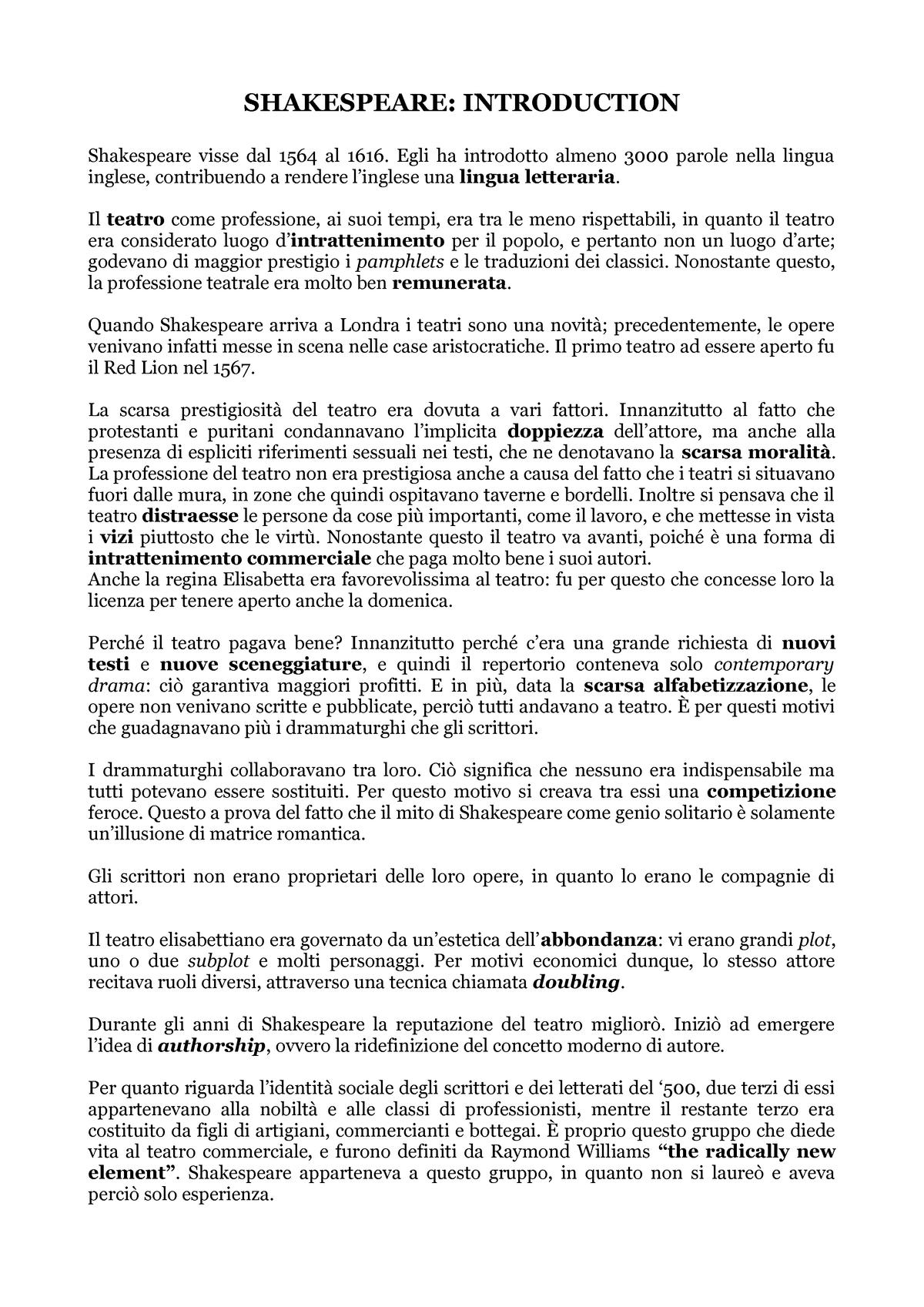 Letteratura Inglese 1 Appunti Tutte Unimc Studocu