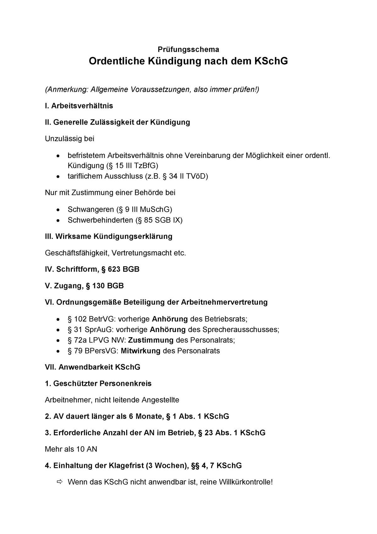 Prüfungsschema Ordentliche Kündigung Arbeitsrecht I Ude