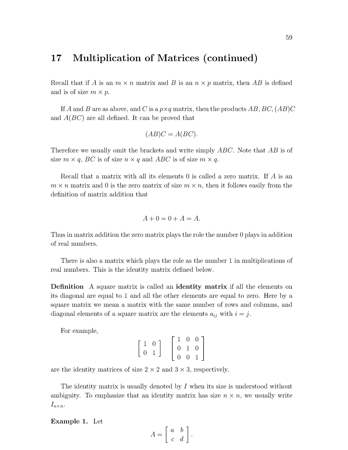 MATH120 Lecture Notes 17 - Multiplication of matrices cont