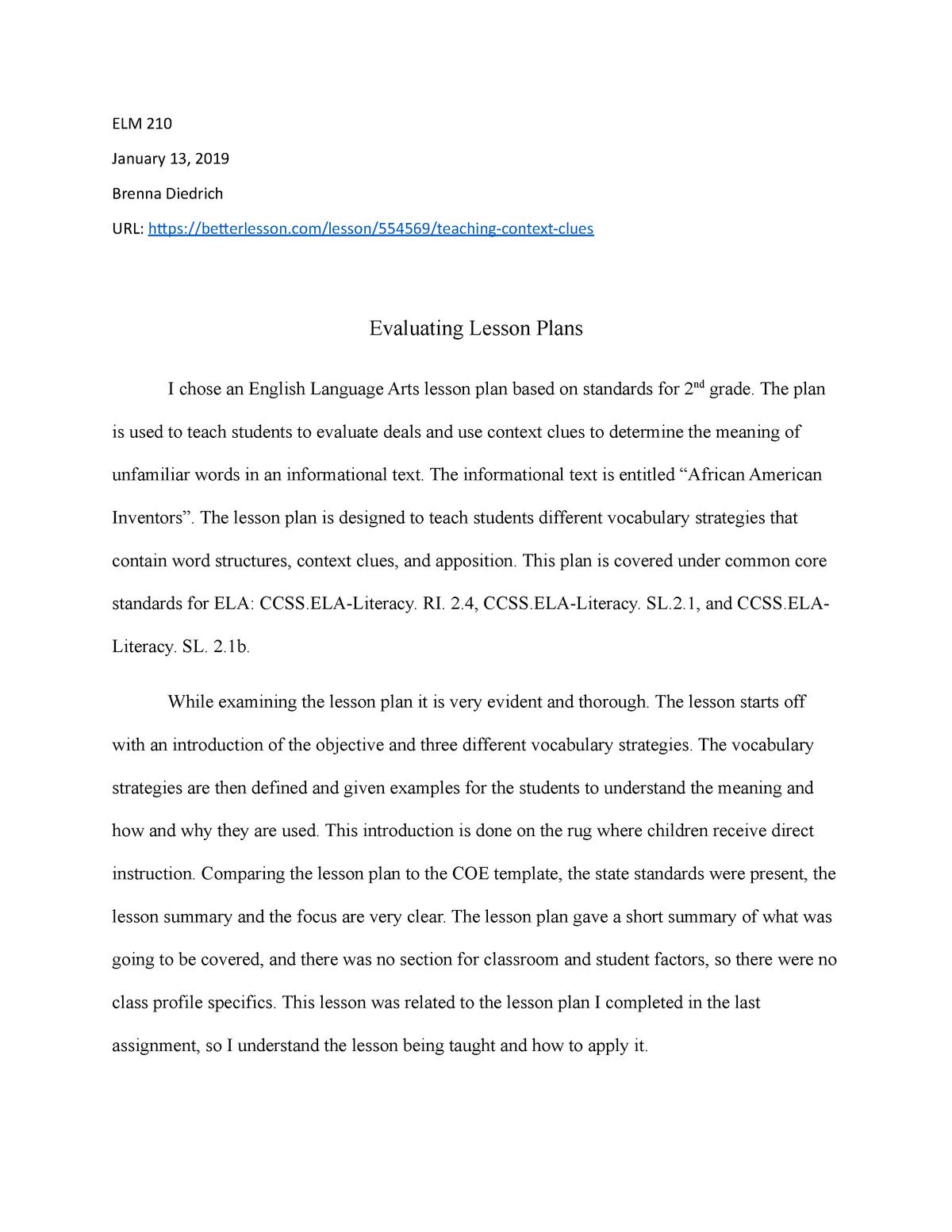 ELM 210 Evaluating lesson plans - ELM-210: Instructional Planning