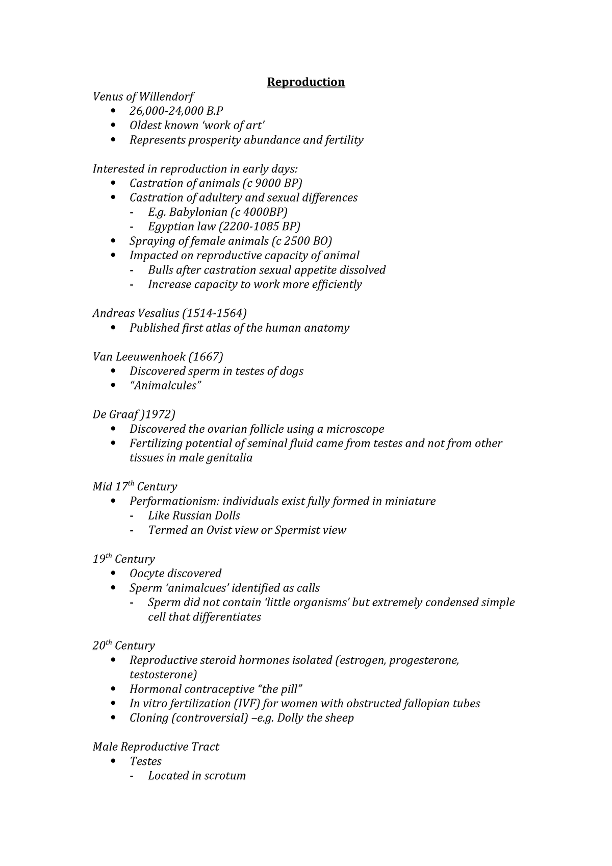 Lecture notes - reproduction - ANHB1101 : Human Biology I: Becoming