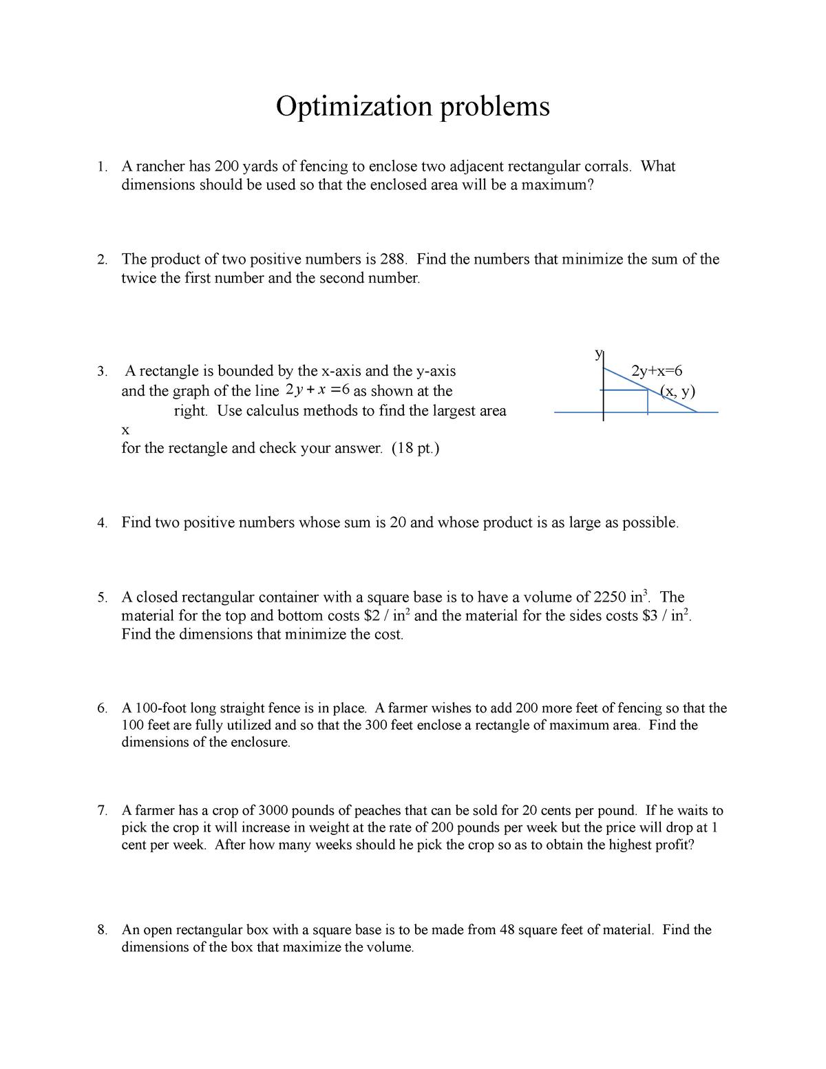 Math 201 Optimization Problems - MATH 20100: Calculus I - StuDocu