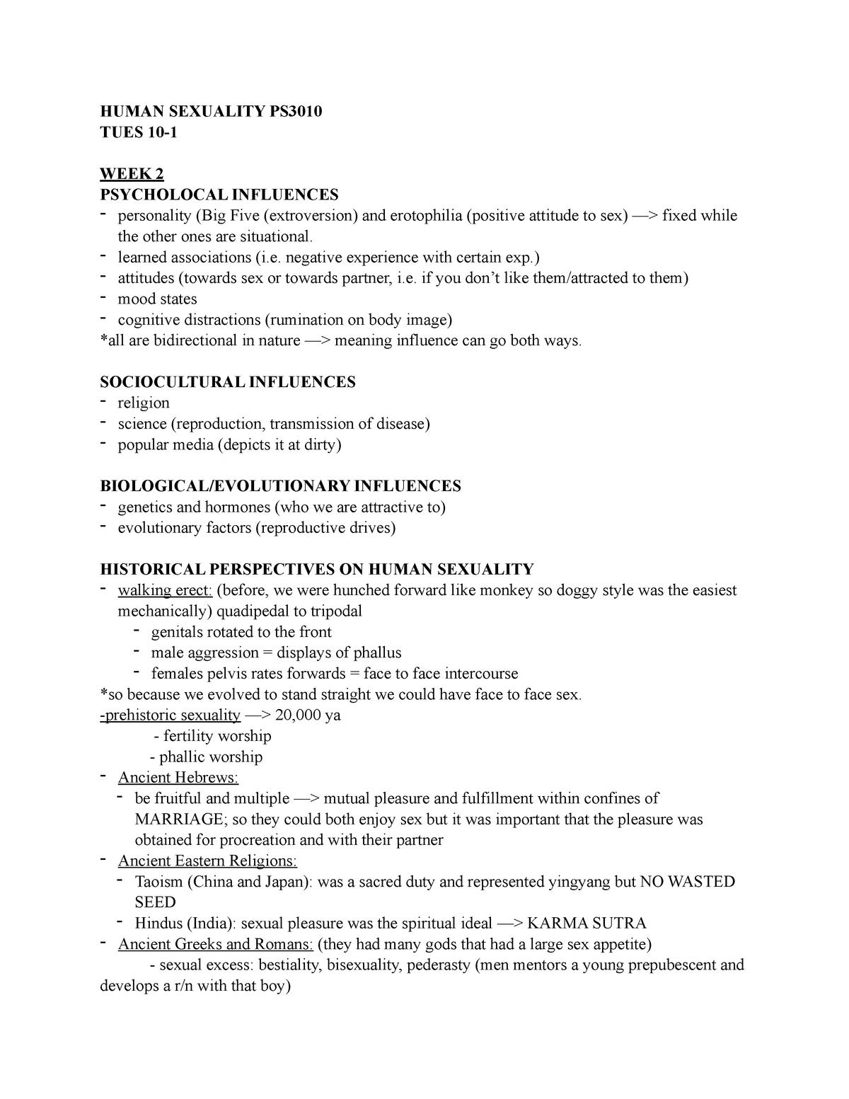 Human Sexuality Notes PDF - PSYC 3010: Human Sexuality - StuDocu