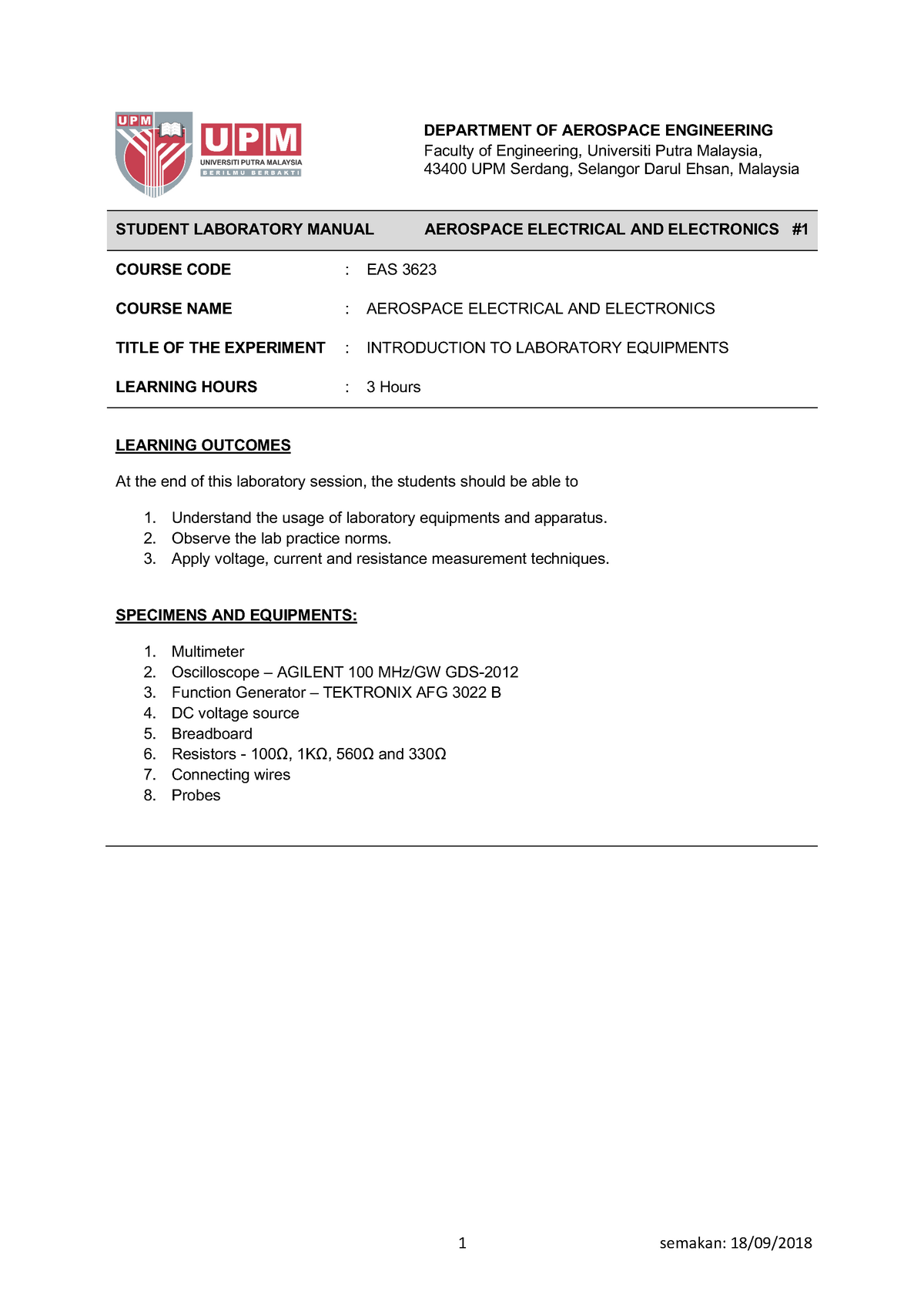 LAB Manual EXP 1 - Introduction to Lab Equipments rev1