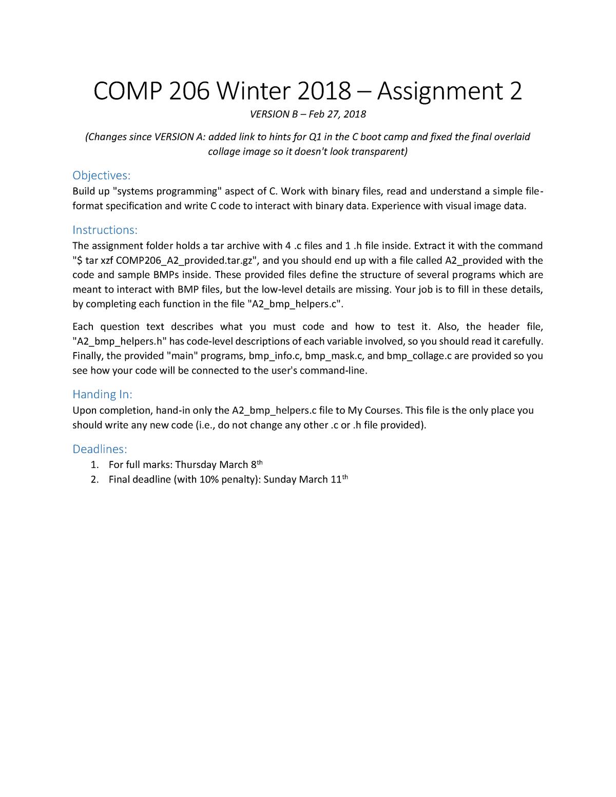 COMP206 Winter 2018 Assignment 2 - Comp 202 - McGill - StuDocu
