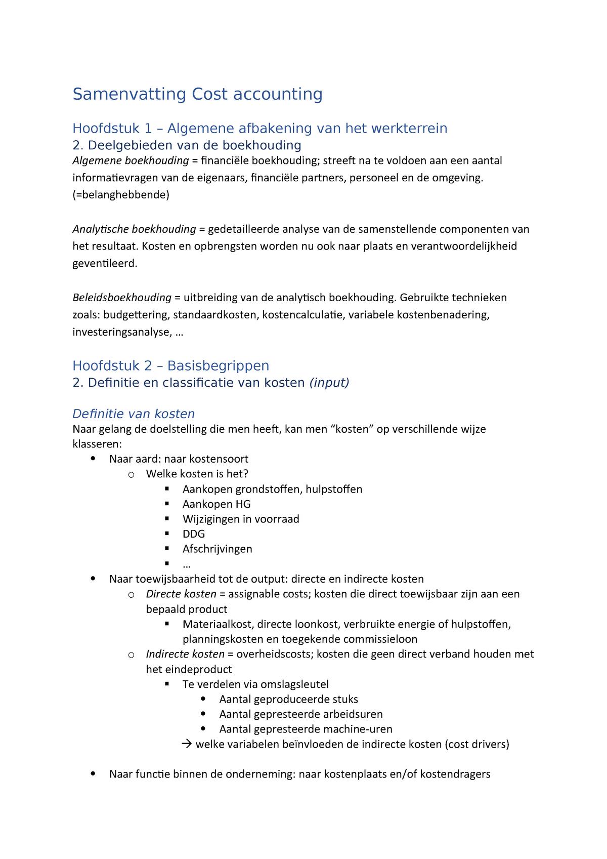 2238160af791e2 Beknopte Samenvatting Cost accounting - StuDocu