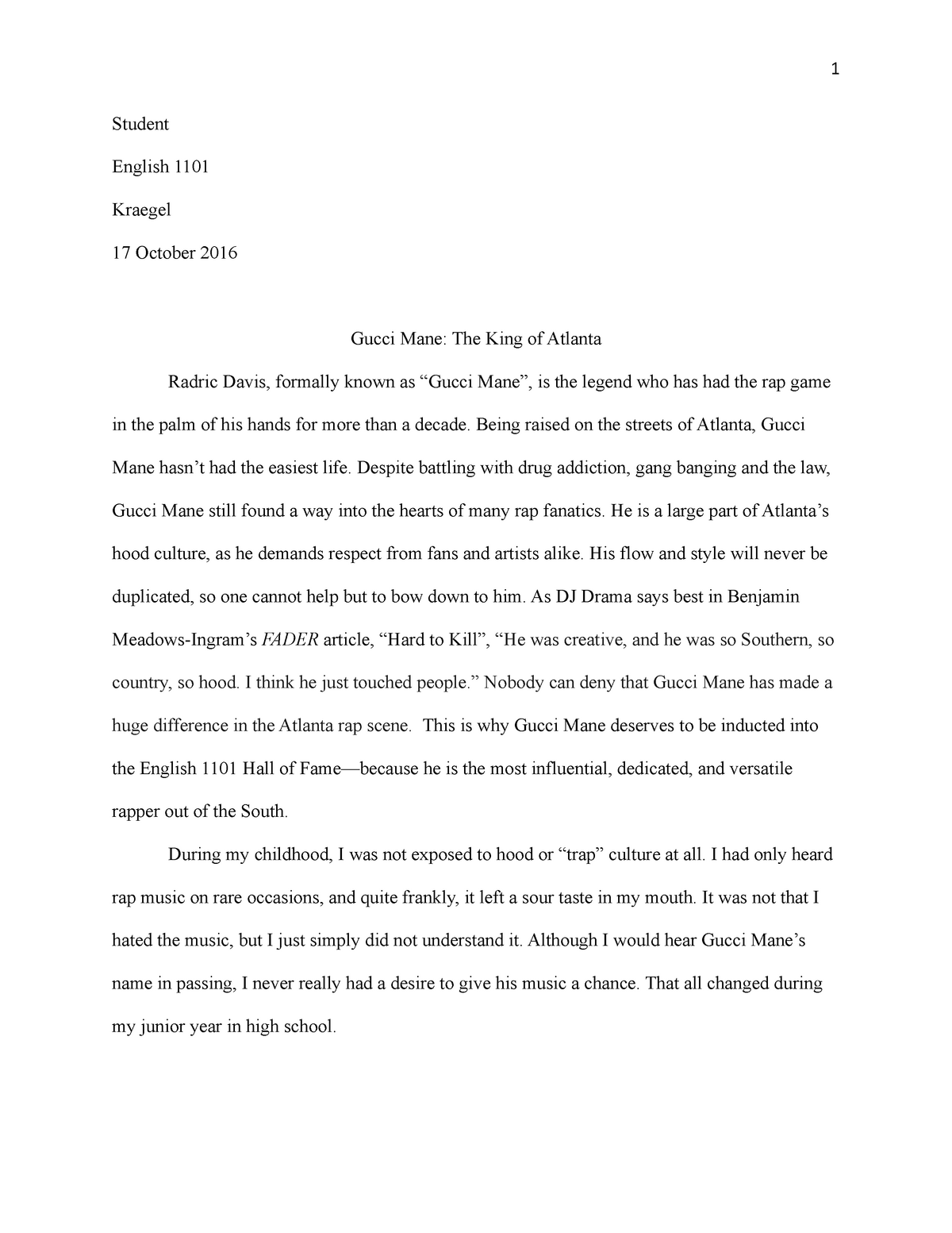 Persuasive essay with research - ENGL 1101 : Composition I