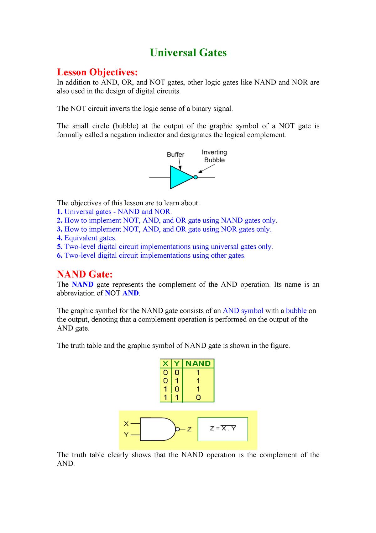 Nand As Universal Gate Circuit Diagram