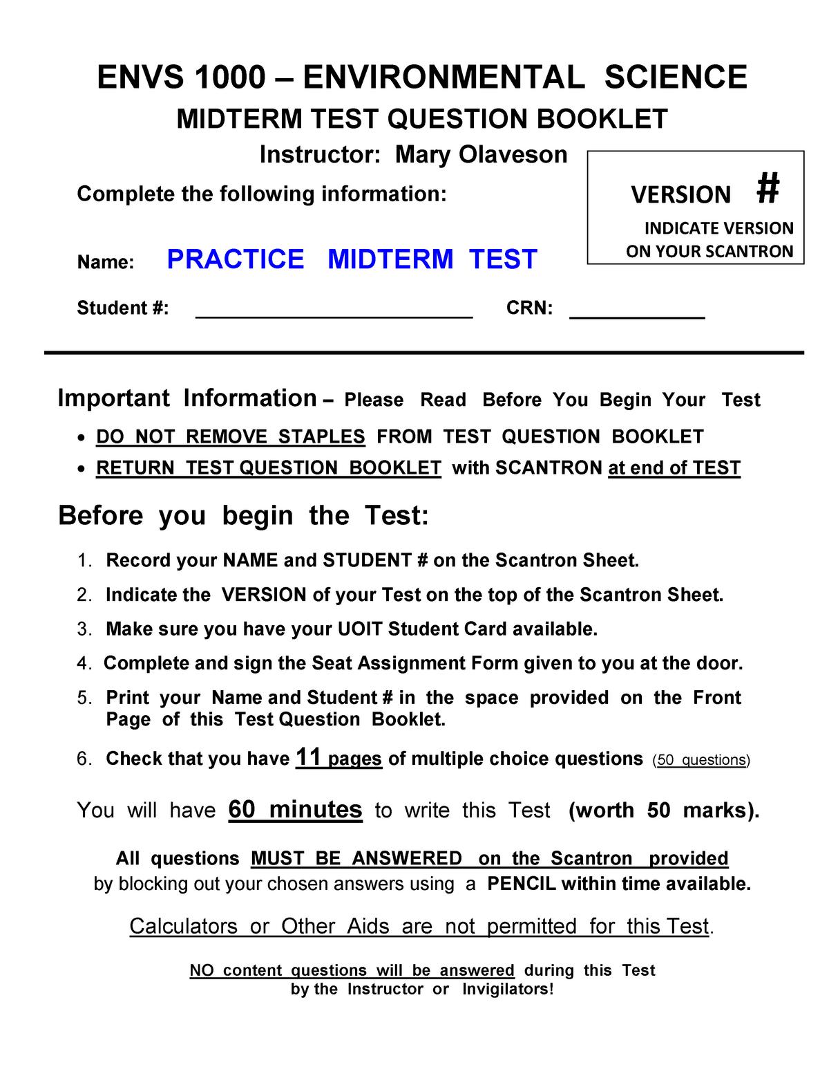 Sample/practice exam 2016, questions - ENVS1000U - UOIT