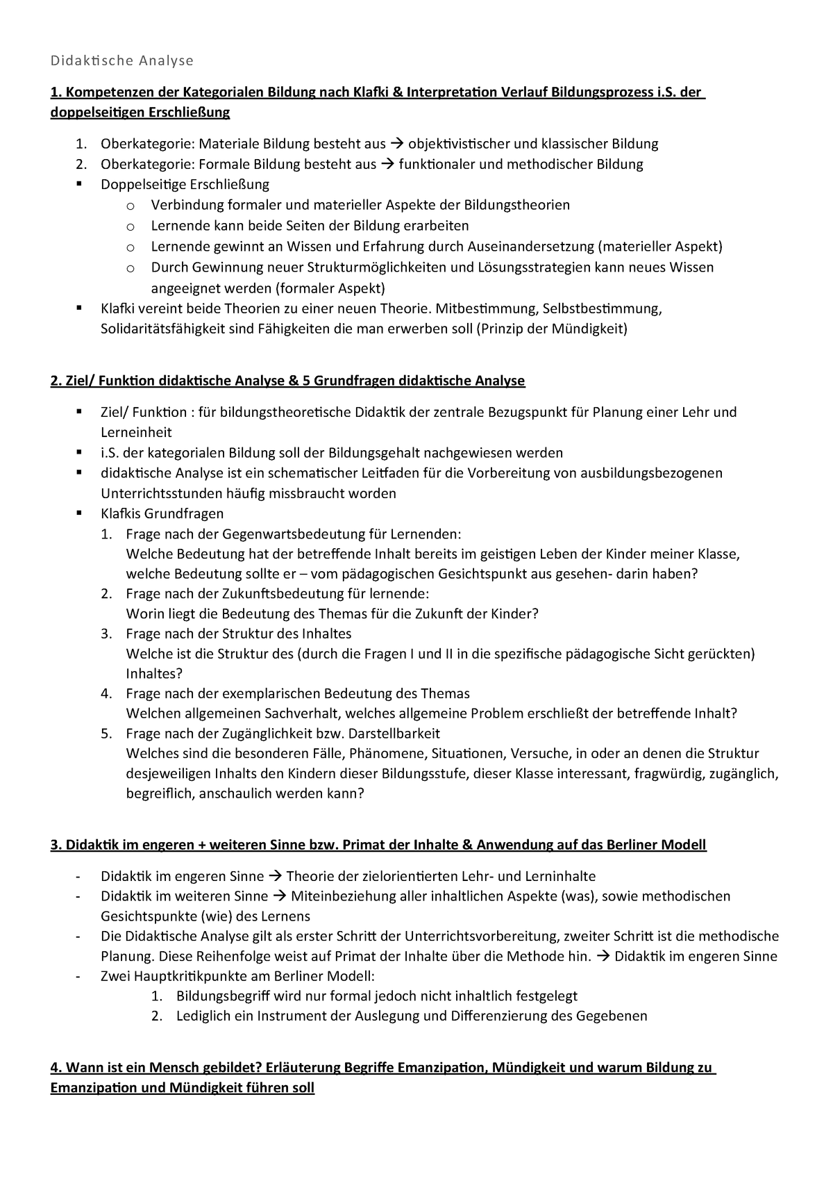 Didaktische Analyse Kompakt Studocu