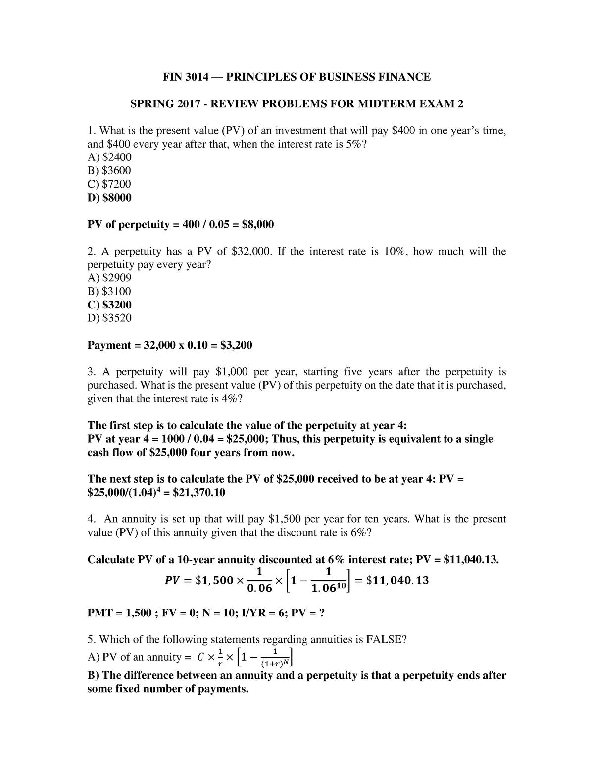 Exam 2018 - FIN 7023: Corporate Finance - StuDocu
