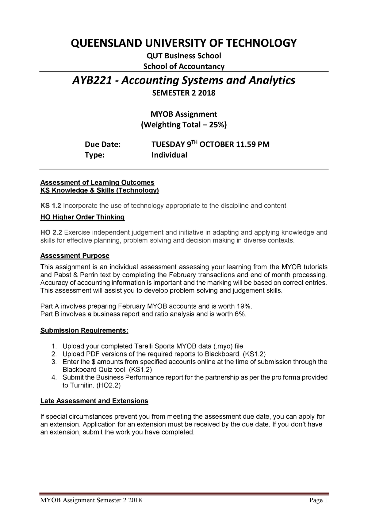 MYOB Assignment - Sem 2 2018 - AYB221: Accounting Systems and