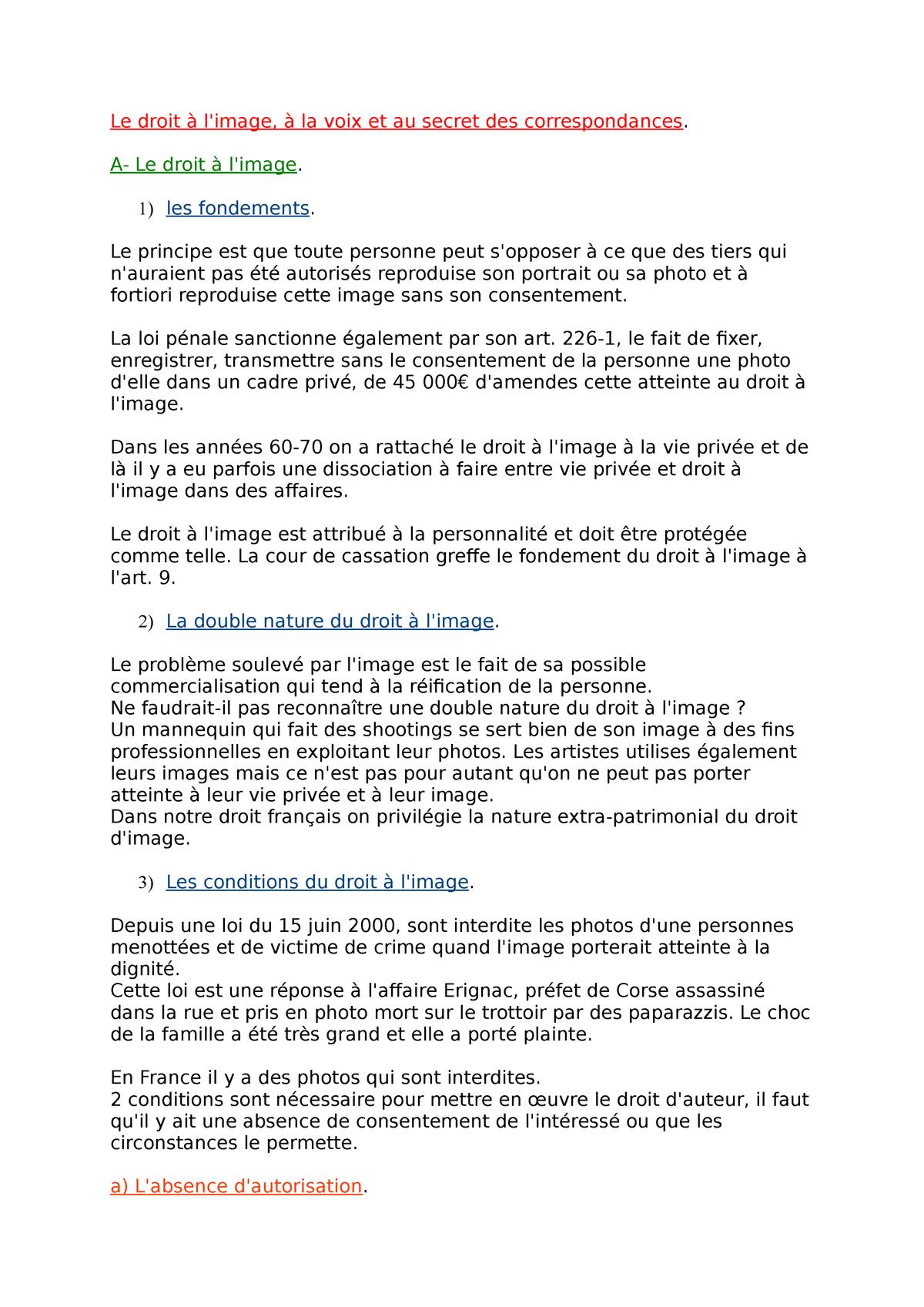 Le Droit A L Image A La Voix Et Au Secret Des Correspondances Studocu