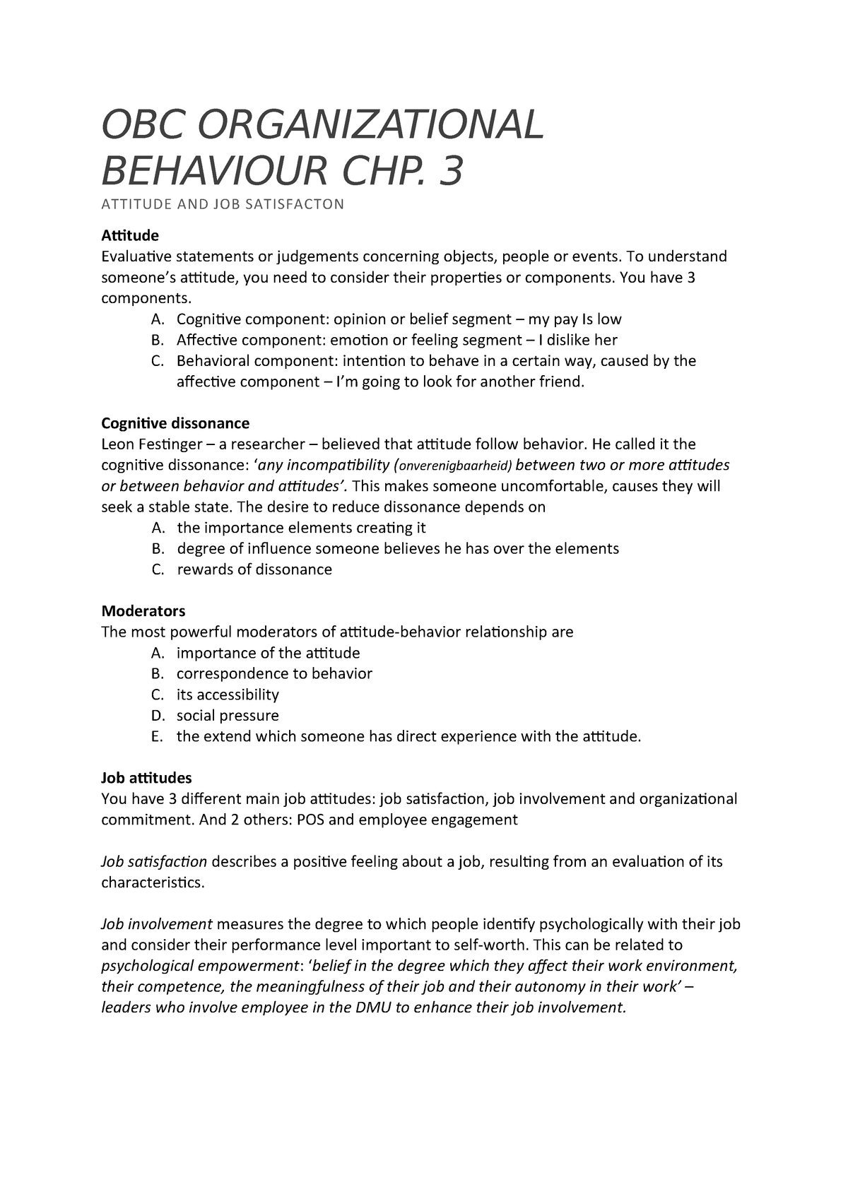 OBC Organizational Behaviour CHP - MPEN-OBC-14 - StuDocu