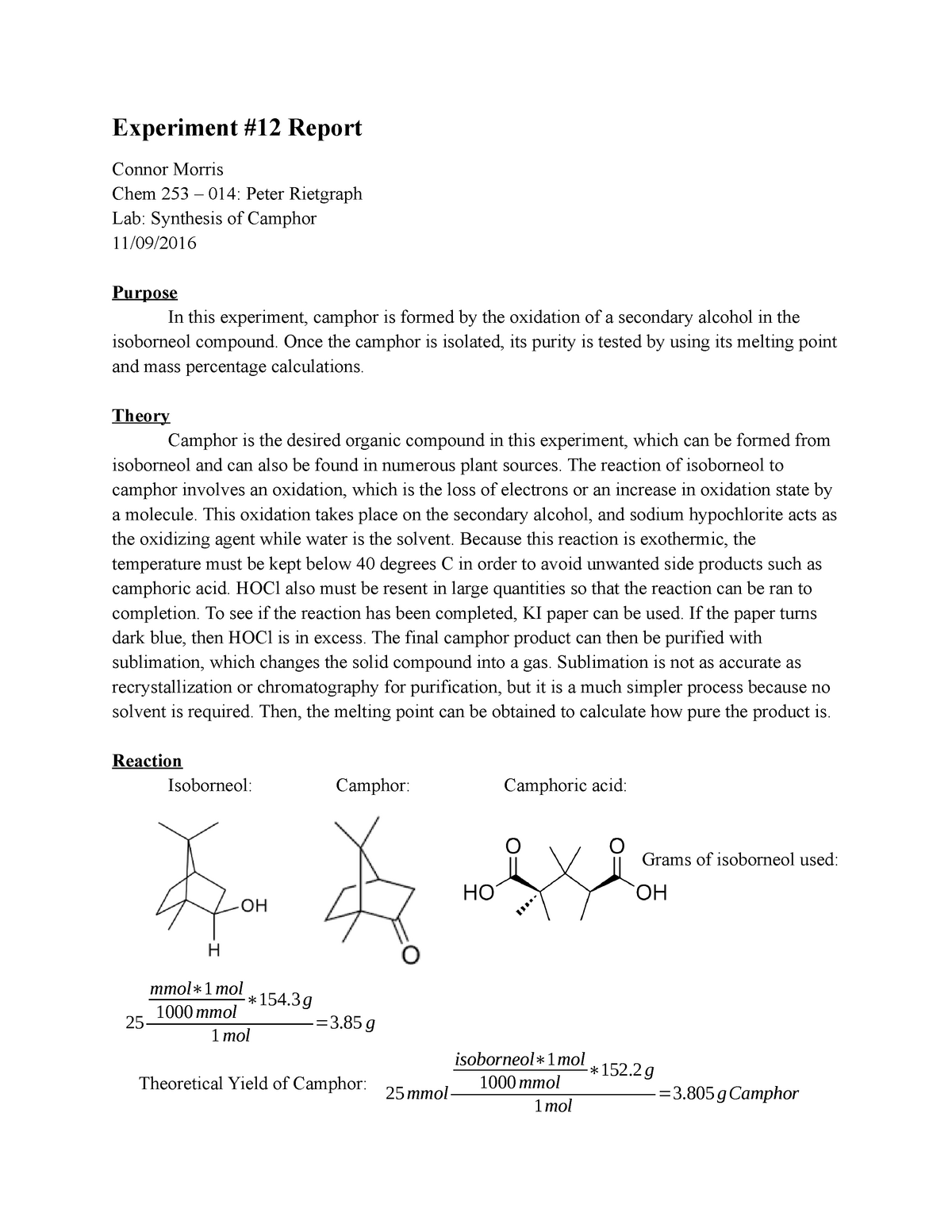 Exp #12 - Synthesis of Camphor - CHEM 253: Organic Chemistry I