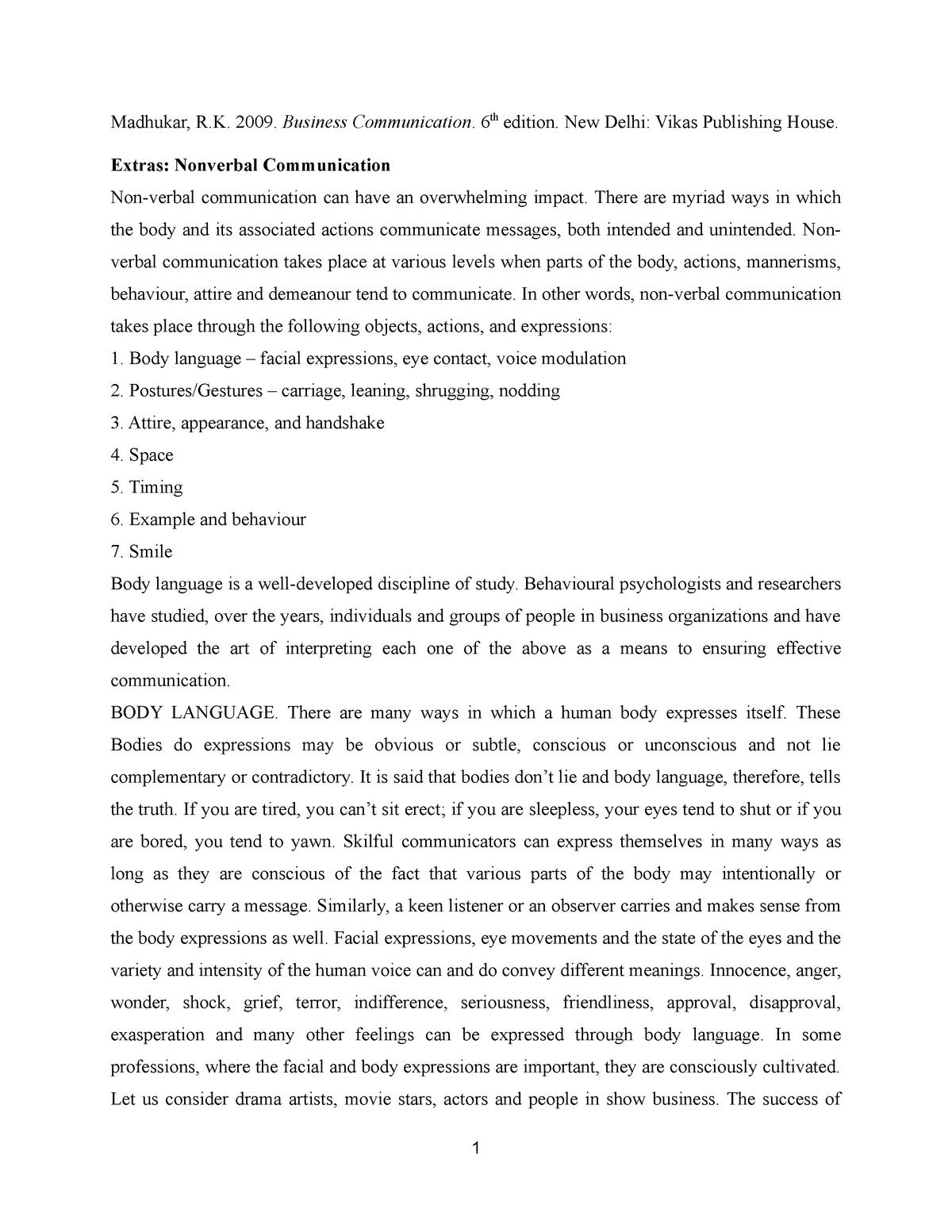 P8] Madhukar, BC  Nonverbal communication - prof Stan: Relatii