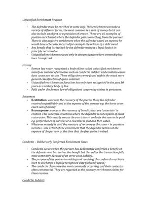 Unjustified Enrichment Revision Notes - LS2025 - StuDocu