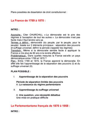 Plan Possible De Dissertation Droit Constitutionnel Studocu Separation Pouvoir